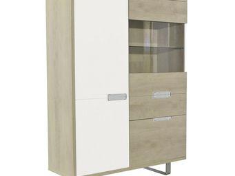 WHITE LABEL - vaisselier chêne clair - dakar - l 127 x l 45 x h - Vaisselier
