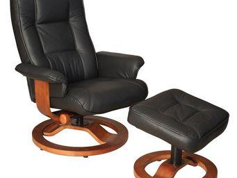 WHITE LABEL - fauteuil de relaxation cuir noir - relaxo - l 75 x - Fauteuil De Relaxation