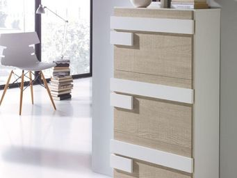 WHITE LABEL - meuble à chaussures blanc/chêne clair - jalia - l - Meuble À Chaussures