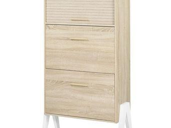 WHITE LABEL - meuble à chaussures à rideau - arkos n°3 - l 80 x - Meuble À Chaussures