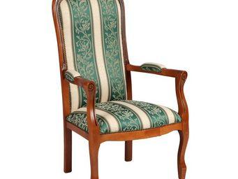 WHITE LABEL - fauteuil voltaire motifs à fleurs vert - george - - Fauteuil
