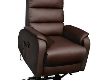 WHITE LABEL - fauteuil relax releveur simili cuir marron - verso - Fauteuil De Relaxation