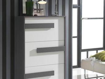 WHITE LABEL - meuble à chaussures blanc/cendre - storia n°2 - l - Meuble À Chaussures