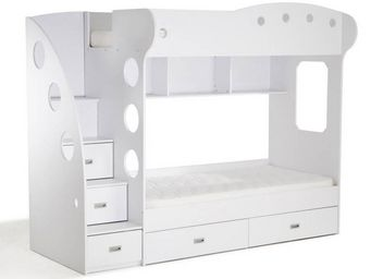 WHITE LABEL - lit mezzanine superposé combi blanc - Lits Superposés Enfants