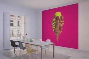 la Magie dans l'Image - grande fresque murale perroquet rose - Papier Peint Panoramique