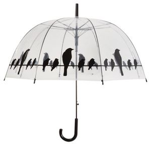 Esschert Design - parapluie transparent oiseaux sur un fil - Parapluie