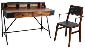 Aubry-Gaspard - bureau avec fauteuil en bois de suar massif et mét - Secrétaire