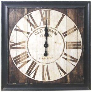 Aubry-Gaspard - horloge carrée en bois vintage - Horloge Murale