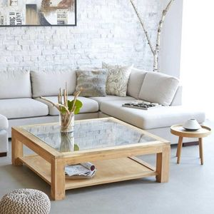 BOIS DESSUS BOIS DESSOUS - table basse vitrée en bois de teck 120 boston - Table Basse Carrée