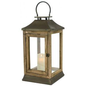 CHEMIN DE CAMPAGNE - grande lanterne tempête en métal fer bois 51 cm - Lanterne D'intérieur