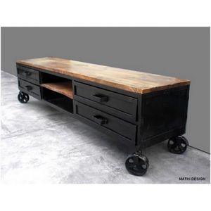 Mathi Design - meuble tv industriel 180 sur roues - Meuble Tv Hi Fi