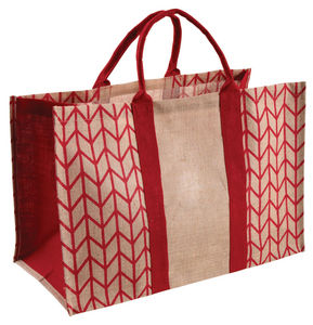Aubry-Gaspard - sac à bûches rouge en jute plastifiée rouge - Sac À Buches