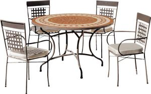 HEVEA - table de jardin ronde et fauteuils lorny vigo 4 fa - Salle À Manger De Jardin