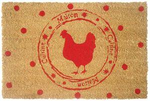 Aubry-Gaspard - paillasson en fibres de coco poule et pois rouges - Paillasson