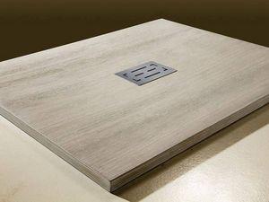 Grandform - receveur de douche sculpture effet bois grandform 90x70 - couleur: anthracite ma - Receveur De Douche À Poser