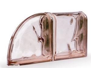 Rouviere Collection - briques de finition rose metallisé - Pavé De Verre