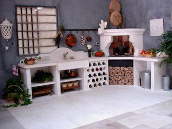 Atelier Alain Edouard Bidal - cuisine en pierre de lens sur mesure - Cuisine D'extérieur