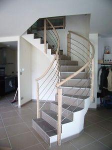 NT Designs - poteaux bois lisses inox - Rampe D'escalier
