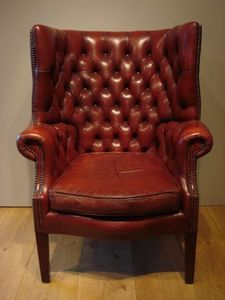 Anthony Short Antiques - 19th century leather wing arm chair - Fauteuil Chesterfield