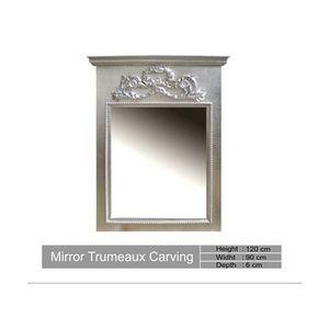 DECO PRIVE - miroir en bois argente trumeau carving deco prive - Trumeau