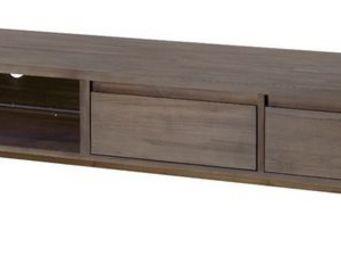 MEUBLES ZAGO - meuble tv teck grisé cosmos - Meuble Tv Hi Fi