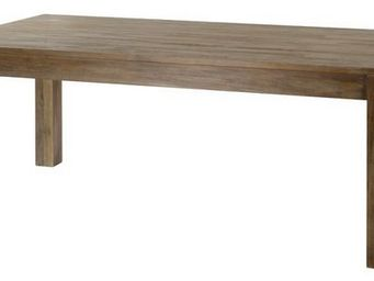 MEUBLES ZAGO - table teck grisé cosmos 160 cm avec allonge - Table De Repas Rectangulaire