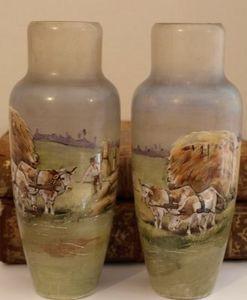 Art & Antiques - paire de vases émaillé napoleon 3 scene paysage va - Vase À Fleurs