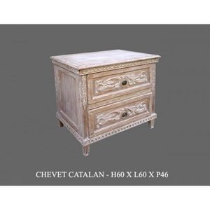 DECO PRIVE - chevet en bois ceruse modele catalane deco prive - Commode