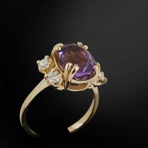 Expertissim - bague en or ornée d'une améthyste et de diamants - Bague