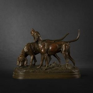 Expertissim - couple de chiens en bronze par dubucand - Sculpture Animalière