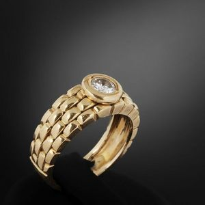 Expertissim - bague en or ornée d'un diamant - Bague