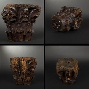 Expertissim - chapiteau corinthien en noyer - Sculpture