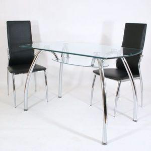 Smart Boutique Design - table en verre spider 120 x 70 cm avec tablette - Table De Repas Rectangulaire