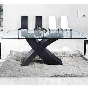Smart Boutique Design - table en verre mix pied noir 150 x 90cm - Table De Repas Rectangulaire
