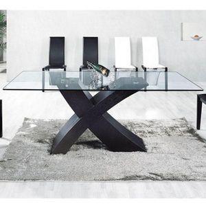Smart Boutique Design - table en verre mix pied noir 150 x 90cm - Table De Repas Rectangulaire