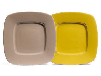 Maisons du monde - assortiment de 12 assiettes plates garigue vertes  - Assiette Plate