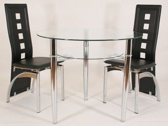 CLEAR SEAT - table ronde en verre jersey 90 cm 3 pieds avec tab - Table De Repas Ronde