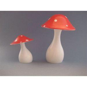 LITTLE BOHEME - champignon en bois tourné peint promenons-nous dan - Décoration De Noël