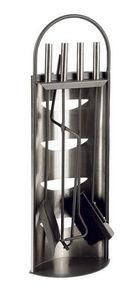 Aubry-Gaspard - valet de cheminée 4 accessoires en métal 23x15x66c - Serviteur De Cheminée