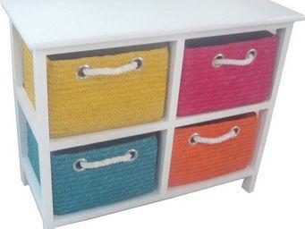 BARCLER - meuble de rangement avec 4 paniers en paille cousu - Meuble De Salle De Bains