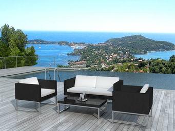 BARCLER - salon ext�rieur design 4 place en r�sine tress�e n - Salon De Jardin
