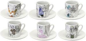 La Chaise Longue - coffret 6 tasses à café en porcelaine les parisien - Tasse À Café