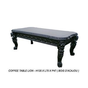 DECO PRIVE - table basse baroque en bois noir modele lion - Table Basse Rectangulaire