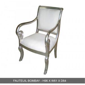 DECO PRIVE - fauteuil en bois argente et simili blanc modele bo - Fauteuil