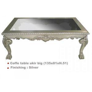 DECO PRIVE - table basse baroque argentee 135 x 80 cm ukir - Table Basse Carrée