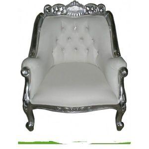 DECO PRIVE - fauteuil baroque blanc aspect cuir blanc capitonne - Fauteuil
