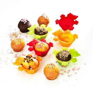 WHITE LABEL - 6 moules à muffins colorés en silicone - Moule À Muffins