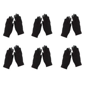 WHITE LABEL - 6 paires de gants extensibles pour écran tactile m - Gants