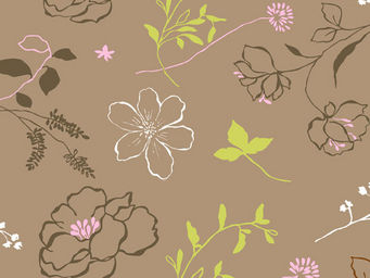FLEUR DE SOLEIL - tissu cam'lia taupe rose 160x160 - Tissu D'ameublement