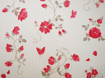 FLEUR DE SOLEIL - tissu roses taupe rouge 160x160 - Tissu D'ameublement